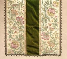 Vintage French Woven Floral Tapestry Table Runner Panel, Velvet and Braided Trim