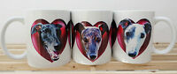 Greyhound Mug  x 1, Black, Brindle, White Dog Heart Mothers Day Gift % Charity