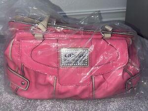 Guess Los Angeles Pink Distressed Large Shoulder Handbag Hobo Bag Studs Crystals