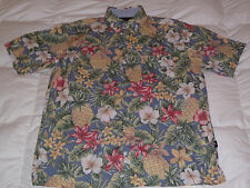 Authentic Tommy Hilfiger Hawaiian floral Print Button Down Blue Mens Shirt Sz M