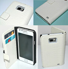 Croc Style White Flip Leather Wallet Case for Samsung Galaxy S2 i9100 Hold Cards