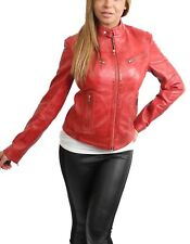 Ladies Leather Biker Jacket Girls Funky Sexy Fitted Zip Up Coat Range of Colours