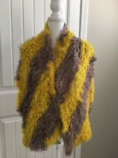 New STRETCH FUR By Nabro Short Hair Tibet Lamb Scarf Shawl Brown Mustard