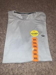 NWT Men's Speedo XXLARGE Short Sleeve Gray Swim Tee Shirt UPF 50 Sun Block Shirt