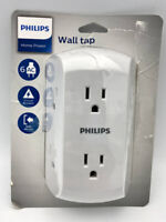 PHILIPS 6 Outlet Wall Charger, Resettable Circuit Breaker, Grounded, OPEN BOX