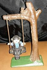 "Vintage Cast Iron Amish Pioneer Child on Tree Swing w/ Squirrel - 5"" Figurine"