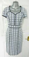 ❤ CC 12 Navy Blue White Lace Effect Smart Wiggle Dress Pencil Occasion Lined