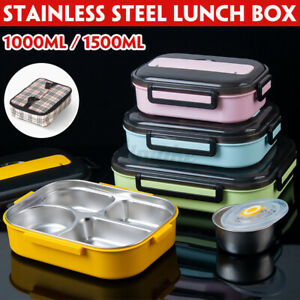 1000/1500ML Stainless Steel Lunch Box Food Container Sandwich Storage Bento Box