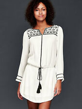 NWT GAP Long sleeve embroidered dress, New Off White SIZE L  #177969