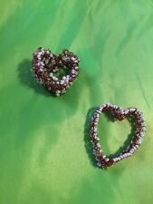 With Beads. handmade Two Copper Hearts Crocheted