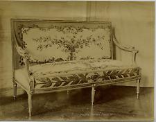 France, Compiegne, Canapé Louis XVI  Vintage albumen print, France  Tirage alb