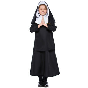 Kid Girl Nun Outfit Costume Halloween Party Fancy Dress Sister Act Holy Outfit