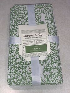 Cotton & Co Easter Bunny Spring Farmhouse Green Set Of 4 Napkins Cotton New