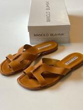 MANOLO BLAHNIK 'Filoma' Leather Flat Slide Sandals~Size 39
