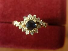 14k 14ct Solid Gold Ring Natural Sapphire & Diamond (1 missing).  Size M 1.82g