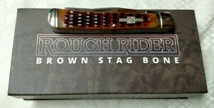 ROUGH RIDER RR22034 BROWN JIGGED BONE 2-BLADE FOLDING POCKET KNIFE-W/BOX-USED