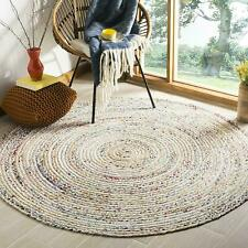 Rug White Braided Cotton 7x7 Feet Chindi Area Rug Handwoven Reversible Living
