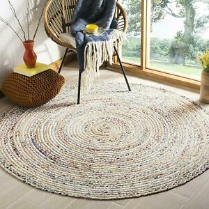 Rug White Braided Cotton 3x3 Feet Chindi Area Rug Handwoven Reversible Living