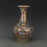 """14.2"""" Chinese Porcelain Porcelain Famille-rose Flower Pattern Ornament Vase 万花赏瓶"""