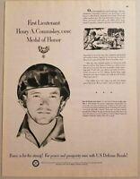 1952 Print Ad USA Medal of Honor Winner Henry A. Commiskey USMC US Defense Bonds
