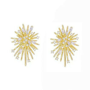 Gorgeous Stud Earrings for Women 18k Yellow Gold Plated White Sapphire A Pair