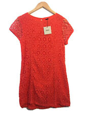 Asos Size 16 Orange Floral Lace Short Sleeve Dress BNWT Summer Party Casual