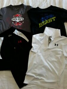 LOT OF 4 Youth Boys Under Armour T-Shirts , polo ,& Jacket Size Youth Large