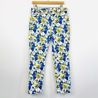 Sportscraft Womens Thea Skinny Jeans White Floral High Waist Size 10