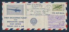 FIRST HELICOPTER FLIGHT COVER JULY 5,1946 BRIDGEPORT, CONN. BU6717