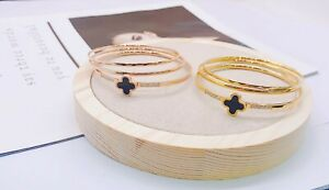 Women Rose Gold Four Leaf Clover stacking Bangles set - Her Gifts/Jewellery Gift