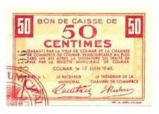 France Local Currency Calmar Bon de Caisse de 50 Centimes 17.06. 1940 AU