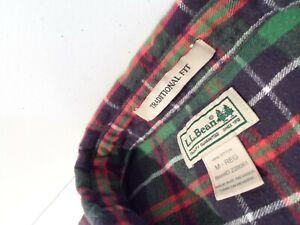 L.L.Bean Men's Scotch Plaid Flannel Shirt Size Medium Traditional Fit Top 228061