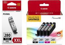 Geniune Canon CLI-281 4-Color Ink Tank Value Pack + PGI-280 XXL Black Ink Tank