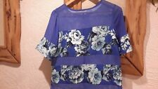 Papaya Weekend Blue Floral Chiffon Top Size 12