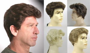 MENS MALE SHORT STRAIGHT HAIR WIG FEATHERED BACK POMPADOUR SIDE PART GREGORY