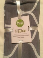 """Set of 4 Food Network Ogee Grey & White 20"""" X 20"""" Ribbed Fabric Napkins"""