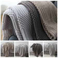Luxury Knitted Blankets Tassel Throws Large Sofa Couch Bed Fringed Cover Chunky