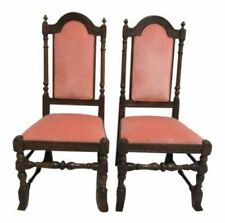 Marvelous Pair Ethan Allen Charter Oak Jacobean Dining Room Side Chairs A