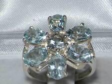 Aquamarine Cluster Natural Fine Rings