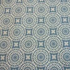Stoff Meterware beschichtet wasserdicht Mandala blau ecru Tischdecke Neu