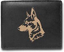 German Shepherd K-9 Police Army Dog RFID Blocking Cowhide Leather Wallet Purse