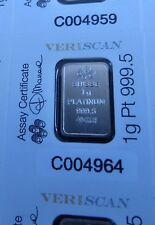 Pamp Lady Fortuna 1 G (1 Gramme) veriscan fine 9995 Platinum Bullion Bar (pas or)