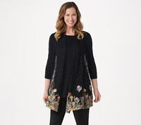 GRAVER Susan Graver Embroidered Lace Open Front Vest, Black/Blue, M