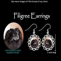 CHOW CHOW DOG Black  - SILVER FILIGREE EARRINGS Jewelry