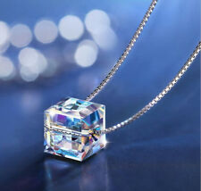 Sugar Cube Rainbow Mystic Topaz Gems Solid Silver Necklace Pendants With Chain