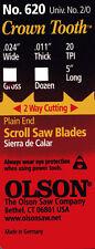 3 Dozen Olson #620 Crown Tooth Plain End 5 Inch Scroll Saw Blades univ. #2/0