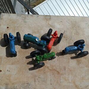 5 Plastic Tractors w/Drivers Scale Models Museum Red blue Orange 1986 1994 1984