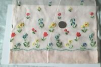 "Antique c1920-1930 Swiss Pink Cotton Floral Embroidery Sample~Dolls~L-15""X W-8"""
