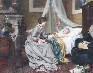 """Jan PORTIELJE (1829-1908) """"Bedtime"""" signed Portielje (lower left)"""