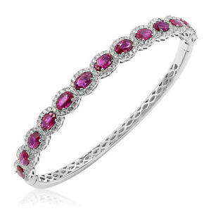 18K WHIT GOLD PAVE DIAMOND HALO RUBY BANGLE STACK STACKABLE CUFF BRACELET